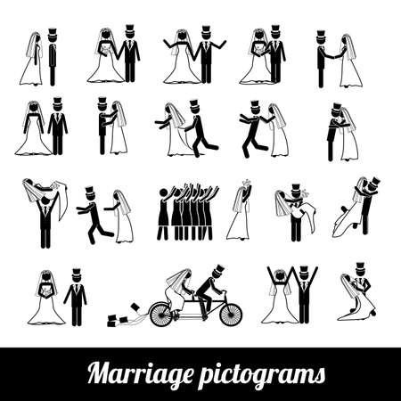Foto de marriage pictograms over white background vector illustration  - Imagen libre de derechos