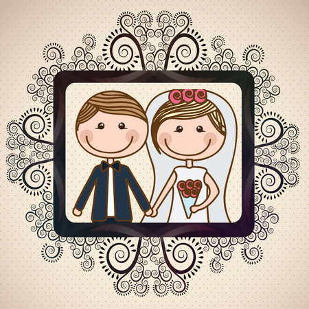 Ilustración de wedding design over vintage background  vector illustration - Imagen libre de derechos