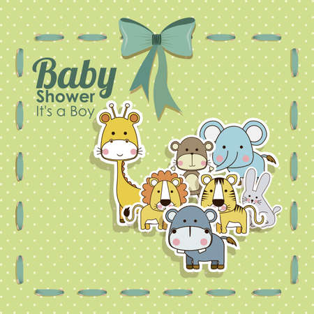 baby shower animals icons over dotted background vector illustration