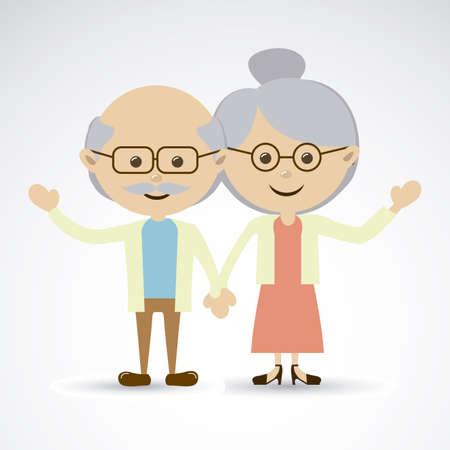 grandparents over gray background vector illustration