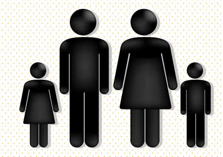 family love over dotted background, vector illustration