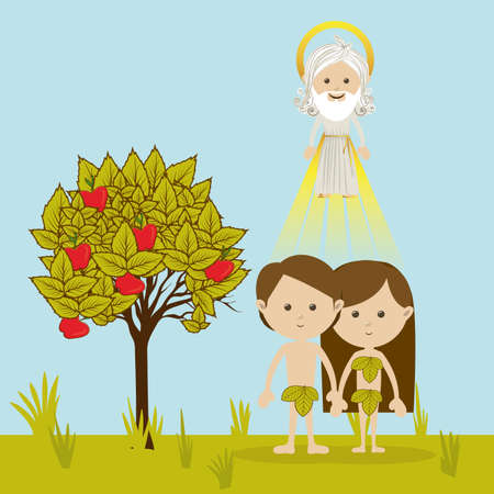 adam and eve over landscape background vector illustration