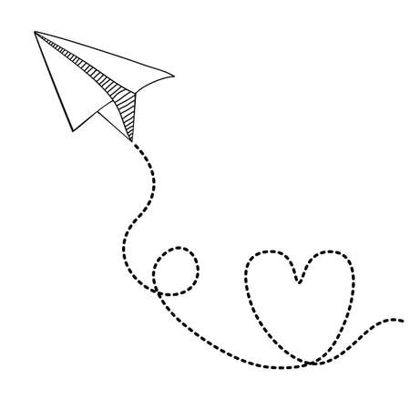 Paper plane design over white background, vector illustration