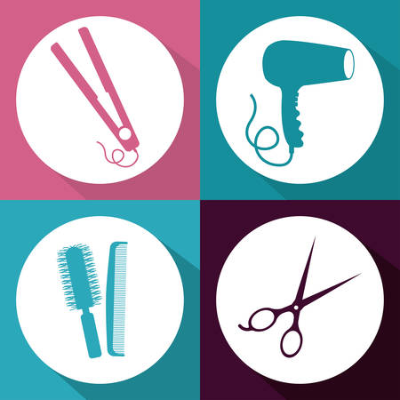 Hair Salon design over multicolored background, vector illustration