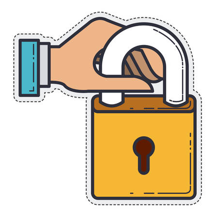 padlock hand security metal icon. Isolated and Flat design. Vector illustration