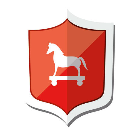 shield of cyber security system icon over white background. vector illustration