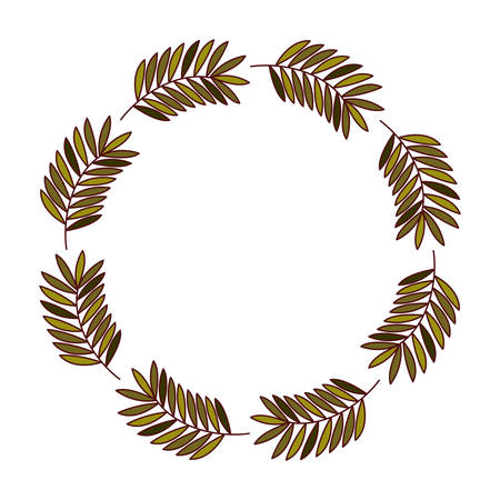 Leaves crown icon. Decoration rustic garden floral nature plant and spring theme. Isolated design. Vector illustration