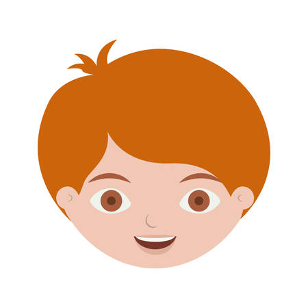 Front Face Redhead Kid Hairstyle Vector Illustration Royalty Free