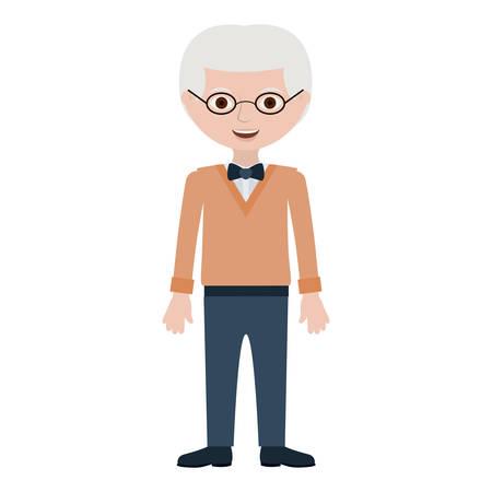 Illustration pour elderly man with bowtie and glasses vector illustration - image libre de droit