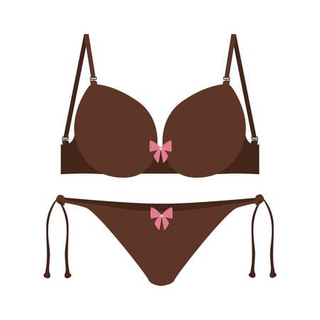 brown set bikini with bow vector illustration