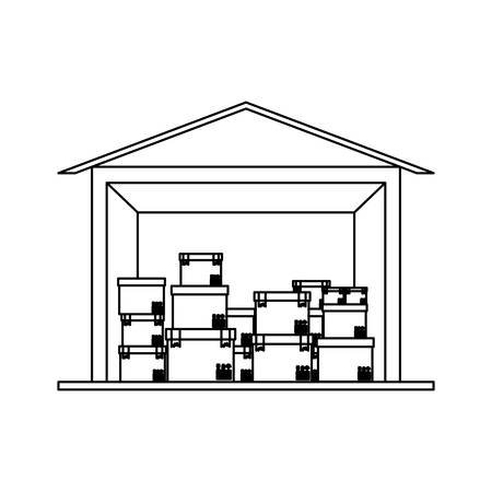 black silhouette contour storage cellar with multiple package vector illustration