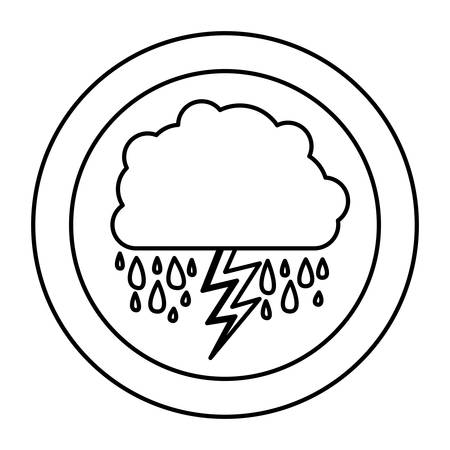 silhouette cloud rainning with ray, vector illustraction designのイラスト素材
