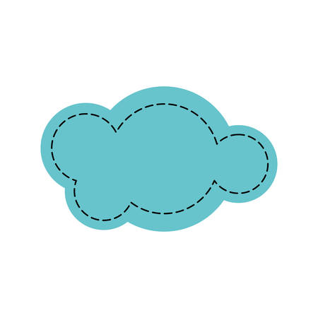 Colorful silhouette of cloud in cumulus shaped dotted vector illustration
