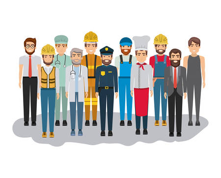 white background with big group of men of different professions vector illustration