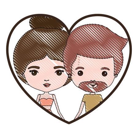 Heart Shape Portrait With Color Crayon Silhouette Caricature Couple