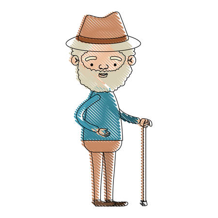 Illustration pour color crayon silhouette of full body elderly man in walking stick with curly beard and hat vector illustration - image libre de droit