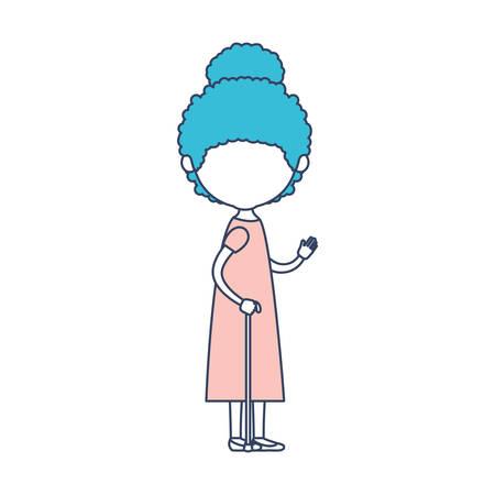 Faceless Caricature Full Body Elderly Woman With Dress In Walking