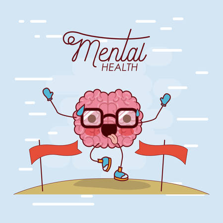 Illustration for mental health poster of brain cartoon with glasses running and pass finishing line and background light blue vector illustration - Royalty Free Image