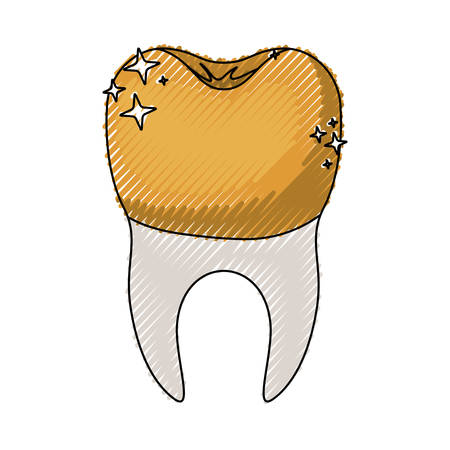 Tooth With Dental Golden Crown And Root In Colored Crayon Silhouette Vector Illustration Royalty Free Vector Graphics