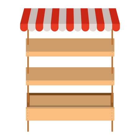 Illustration pour supermarket shelves empty with three levels and colorful sunshade vector illustration - image libre de droit
