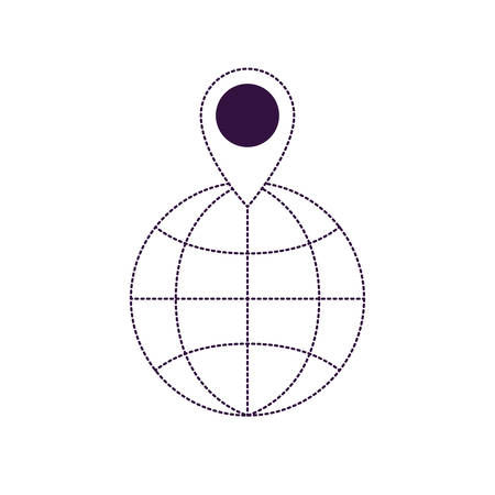 world globe and map pointer on top in purple dotted silhouette vector illustration