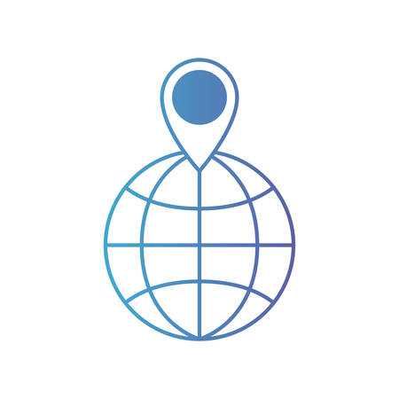 world globe and map pointer on top in degraded blue to purple color contour vector illustration