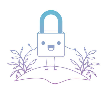 safe secure padlock in camp character vector illustration design