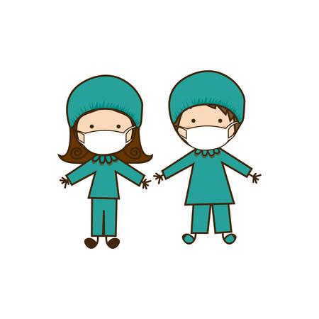 Illustration pour colorful caricature couple doctor costume - image libre de droit