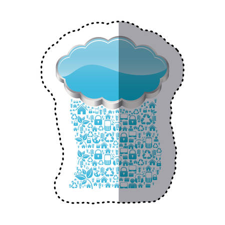 sticker realistic 3d shape cloud storage with rain pattern tech device vector illustration