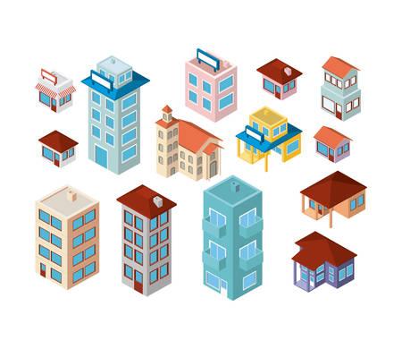 Illustration pour Mini set buildings isometric icons vector illustration design. - image libre de droit