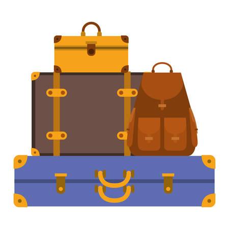 Ilustración de suitcases bags pile isolated icon vector illustration design - Imagen libre de derechos