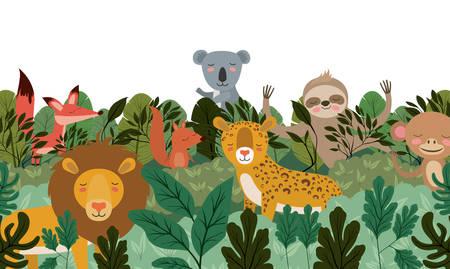 Ilustración de wild animals in the jungle scene vector illustration design - Imagen libre de derechos