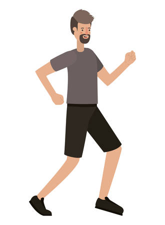 Illustration pour young man with beard running avatar character vector illustration design - image libre de droit