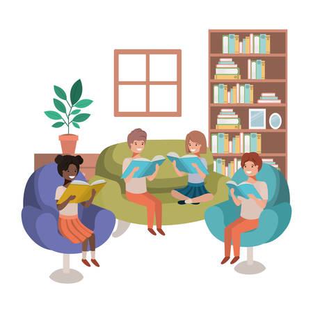 Ilustración de group of people with book in livingroom avatar character vector illustration design - Imagen libre de derechos