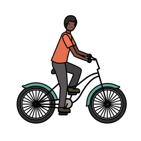 Vektor für young black man in bicycle sport character vector illustration design - Lizenzfreies Bild