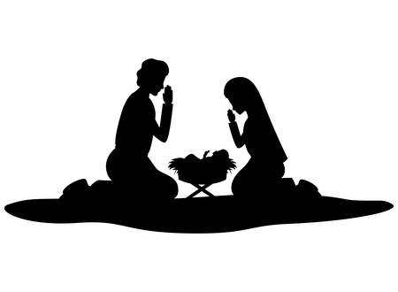 Illustration for holy family silhouettes manger characters vector illustration design - Royalty Free Image
