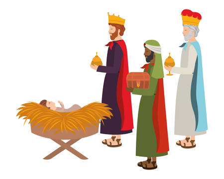 Illustration pour Wise kings with Jesus baby in straw stable. Vector illustration design - image libre de droit