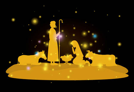 Illustration for Christmas card with holy family and animals - Royalty Free Image