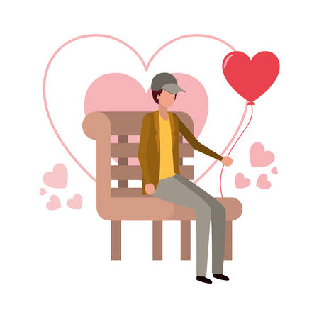 man sitting on park chair with hearts character vector illustration desing