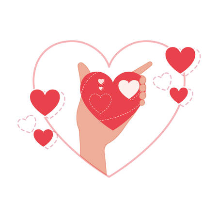 hand lifting love heart isolated icon vector illustration desing