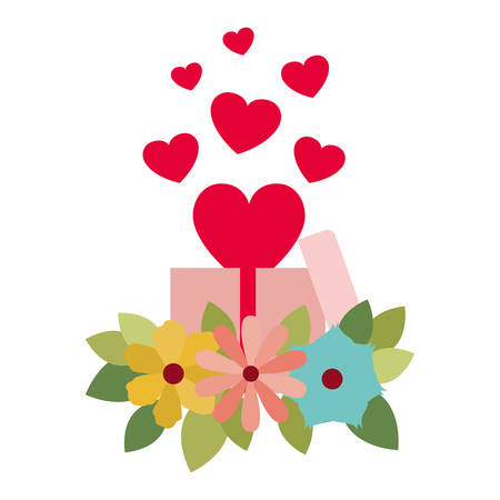 Illustration for gift box with hearts isolated icon vector illustration desing - Royalty Free Image
