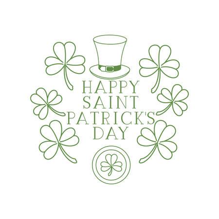 Illustration pour happy saint patrick`s day label with clover and elf hat vector illustration desing - image libre de droit