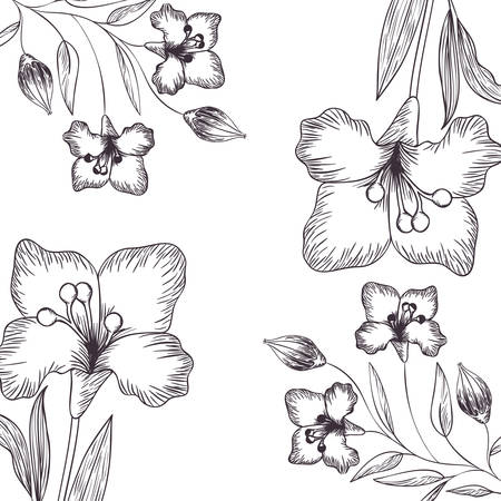 Illustration for pattern flowers and leafs isolated icon vector illustration - Royalty Free Image