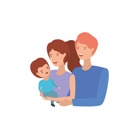Illustration for couple of parents with son avatar character vector illustration design - Royalty Free Image