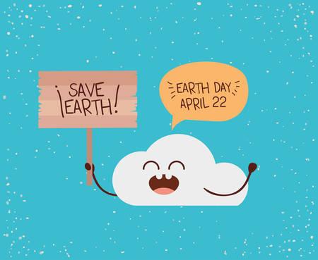 Illustration pour cloud character with speech bubble and label earth day celebration vector illustration - image libre de droit