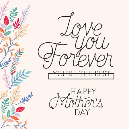Illustration pour happy mothers day card with herbs frame vector illustration design - image libre de droit