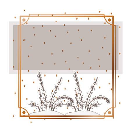 Illustration pour pattern plant with frame golden isolated icon vector illustration design - image libre de droit