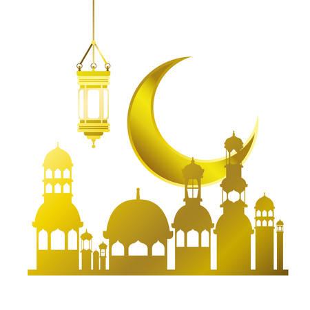 Illustration pour ramadan kareem mosque building with moon vector illustration design - image libre de droit