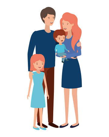 Illustration for couple of parents with children avatar character vector illustration design - Royalty Free Image