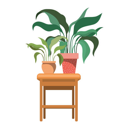 Illustration pour houseplants with potted on the table vector illustration design - image libre de droit